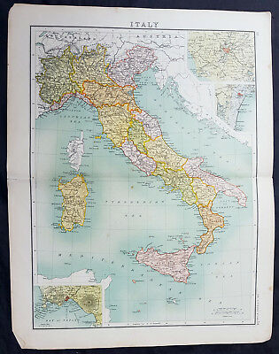 1890 Bartholomew Original Antique Map of Italy inset plans Rome, Venice, Naples