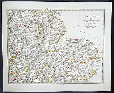 1830 SDUK Large Antique Map of Central West England - Norfolk to Warwickshire