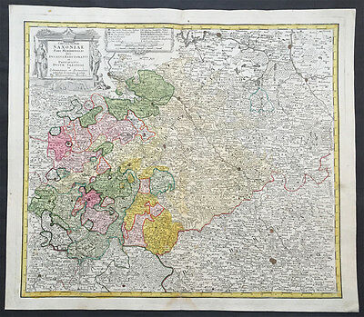 1735 J B Homann Large Antique Map of Old Saxony, Germany - Berlin to Prague