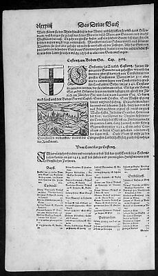 1598 Sebastian Munster Antique Print Engravings to Text View of Bodensee Germany