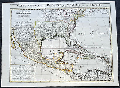 1719 Chatelain Large Antique Map of British, French, Spanish North America - GOM
