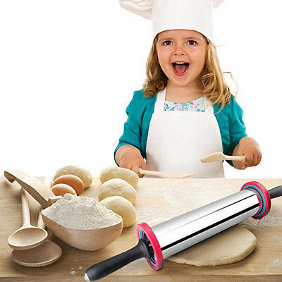 Stainless Steel Rolling Pin With Thickness Rings Large Duty Adjustable Roller US