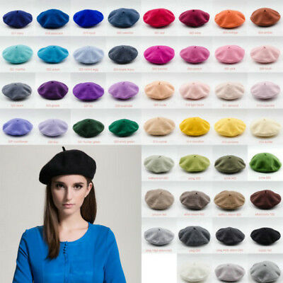 0b229a7a9 SOLID WOMEN GIRL Beret French Artist Warm Thick Wool Winter Hat Ski ...