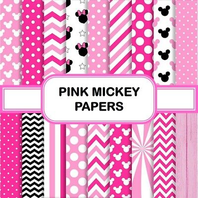PINK MICKEY PAPERS SCRAPBOOK PAPER - 18 x A4 pages