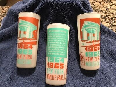 Lot of 3 Vintage 1964 1965 NEW YORK WORLD'S FAIR Glass PORT AUTHORITY BUILDING