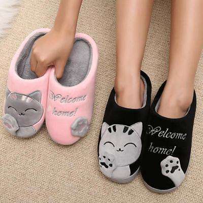 Women's Winter Slippers Warm Plush Indoor Soft Floor cute cat Couple House shoes