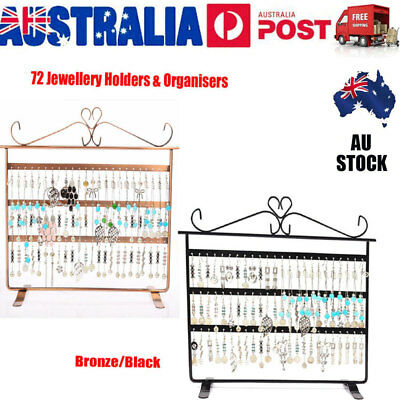 72 Holes Earring Jewelry Necklace Display Rack Metal Stand Holder Organizer VIC