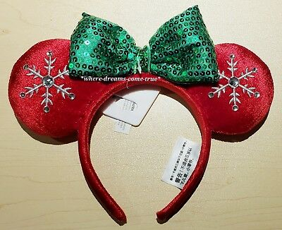 Disney Parks 2018 Red Snowflake Holiday Minnie Ears Headband Christmas (NEW)