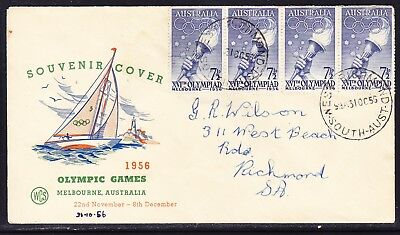 Australia WCS 1956 Melbourne Olympics 7½d x 4 First Day Cover addressed