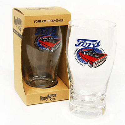 Ford Motor Co Muscle XW Falcon GT Design Glass Beer Schooner New In Gift Box