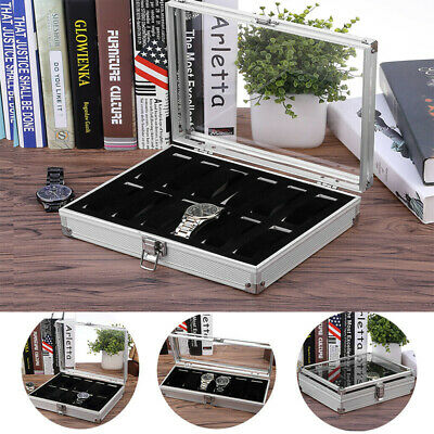 24 Grids Leather Watch Storage Case Jewellery Display Glass Box Holder Gifts UK