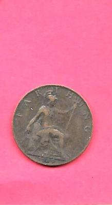 Great Britain Gb Uk Km808.2 1919 Vf-Very Fine-Ncie Old Antique Farthing  Coin