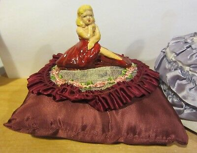 Antique Chalkware Pin Cushion Half Dolls