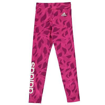 adidas Kids Girls Lined Print Tights Junior Performance Pants Trousers Bottoms