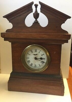 Antique Mahogany /  Oak Small SHELF MANTLE CLOCK .Working order . Time only