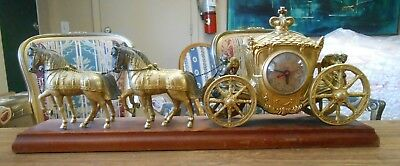 Vintage United Clock Co Gold Gilt Spelter Horse Drawn Carriage Mantle Clock Elec