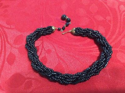 Vintage Jet Micro Bead Mourning Necklace Very Old