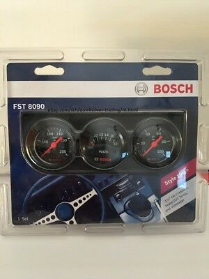 Bosch SP0F000046 Style Line 2 Triple Gauge Kit White Dial Face, Chrome Bezel