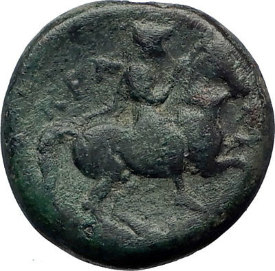 KRANNON in THESSALY 300BC Poseidon Horse man Ancient Greek Coin  i73359