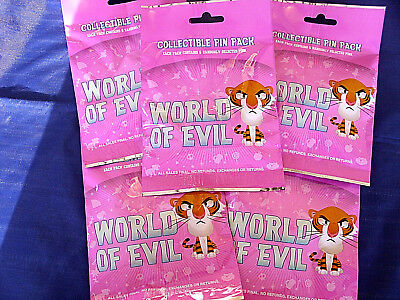 Disney * WORLD OF EVIL * 5 PACKS * NEW 5-pin Collectible Mystery Pack Pins