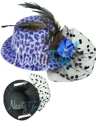 Blu Maculato Punk Rock Mini Cappello Rockabilly Pinup Fascinator Piuma Rosa Velo