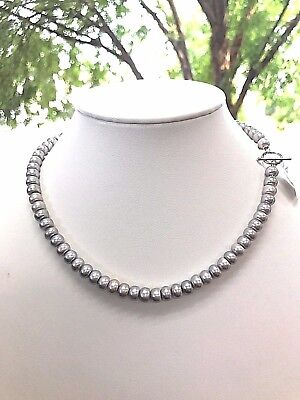 """Sterling Silver Toggle Clasp 7.8mm Gray Silver Genuine Button Pearl Necklace 18"""""""