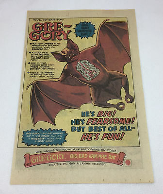 1980 Mattel GRE-GORY toy vampire bat ad page ~ Gregory