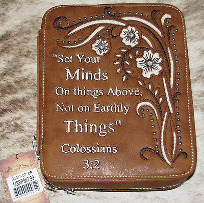 MONTANA WEST Bible Cover Scripture Verse Colossians 3:2~Brown~Brand New~DC017-OT