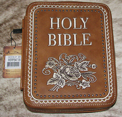 MONTANA WEST Bible Cover Spiritual Collection~Brown with Embroidery~New~DC016-OT