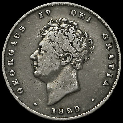 1829 George IV Bare Head Milled Silver Shilling, Scarce, AVF