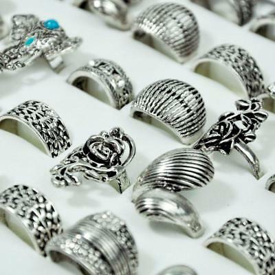6pcs Ancient Silver Vintage Elephant mix Style Rings Women wholesale jewelry CFP
