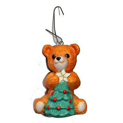 "HALLMARK*1.5x2"" HOLIDAY ORNAMENT Orange+Green+Red TEDDY BEAR+CHRISTMAS TREE 1990"