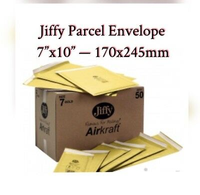 """10 x GENUINE JIFFY AIRKAFT GOLD PADDED BUBBLE ENVELOPES BAGS 7""""x10"""" 170x245mm"""