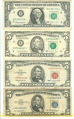 $1,$5 Federal Reserve,$5 United States,$5 Silver Certificate Star(*) 4 Notes-Cir