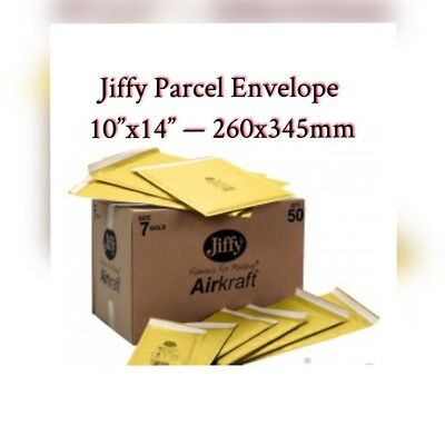 """10 x GENUINE JIFFY AIRKAFT GOLD PADDED BUBBLE ENVELOPES BAGS 10""""x14"""" 260x345mm"""