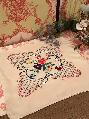 Vintage Hand Embroidered Floral Cushion Cover Beautiful Needlework Flowers