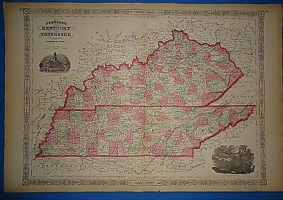 Vintage 1867 KENTUCKY - TENNESSEE MAP ~ Old Antique Original Atlas Map 102318