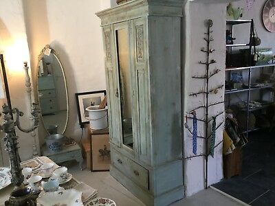 Antique Edwardian Chalk Painted Wardrobe-Very Pretty-Solid Wood-Mirror-Drawer