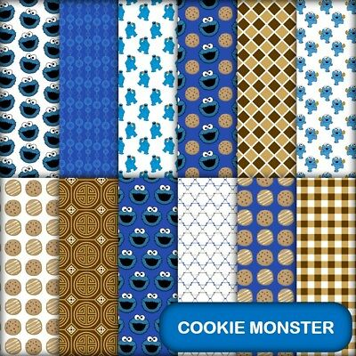 COOKIE MONSTER SCRAPBOOK PAPER - 12 x A4 pages