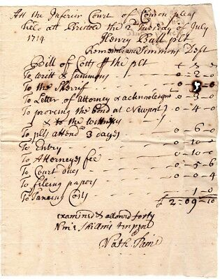 1714, Judge Nathaniel Paine, signed accounting for Inferior court fees