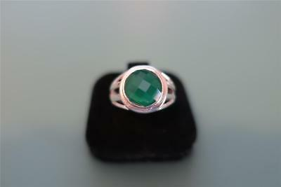 Sterling Silver 925 Stunning Checker Cut Green Onyx Ring 7.5 / P - 4 Grams