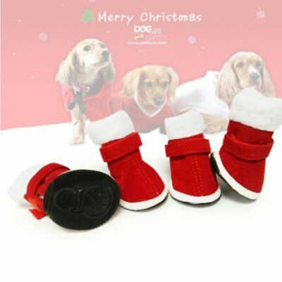 4PCS Christmas Dog Puppy Snow Booties Warm Anti-Slip Shoes Pet Protective Boots