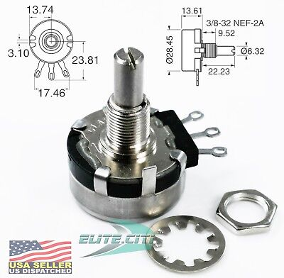 Clarostat/Honeywell RV4NAYSD103A Pot 10k Ohm 10% 2W 6.35mm Solder Lug Pnl Mount