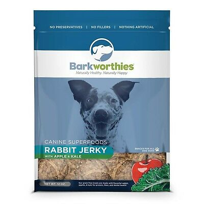 Barkworthies Rabbit Jerky 12 oz | Apple and Kale | Superfood for Dogs