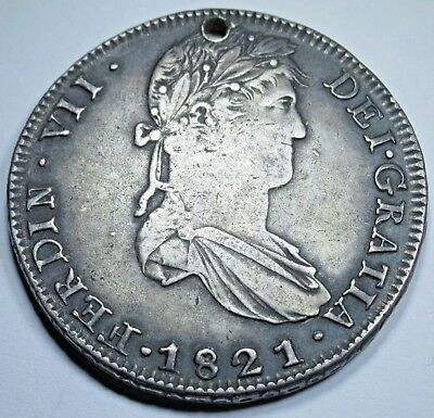 1821 RG Zs Spanish 8 Reales Zacatecas Silver Rare Eight Real Coin Dollar