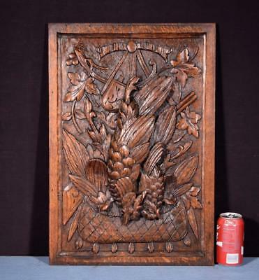 *Antique French Louis XVI Style Carved Hunting Panel in Oak Wood with Bird