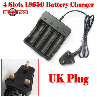 18650 3.7V Li-ion Rechargeable 4 Slots Battery 4x 3.7v 18650 Charger Plug UK