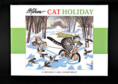 B. KLIBAN CAT Christmas Cards CAT HOLIDAY Box of 20 (4 Designs) Pomegranate