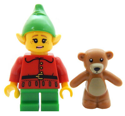 NEW LEGO FEMALE CHRISTMAS ELF w/Teddy Bear figure minifigure santa claus minifig
