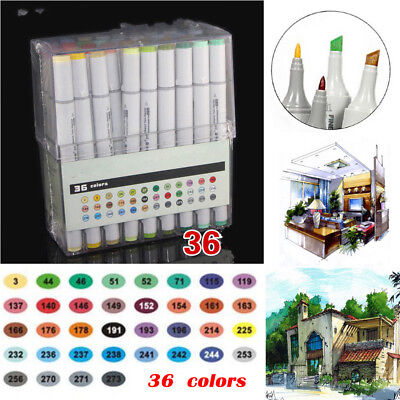 AU 24-36-72Colors Dual Headed Pro Artist Sketch Markers Pen Set For Animation